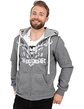 Michaelax-Fashion-Trade Krüger - Herren Trachten Hoodie in grau, Hirschpracht (94701-44)