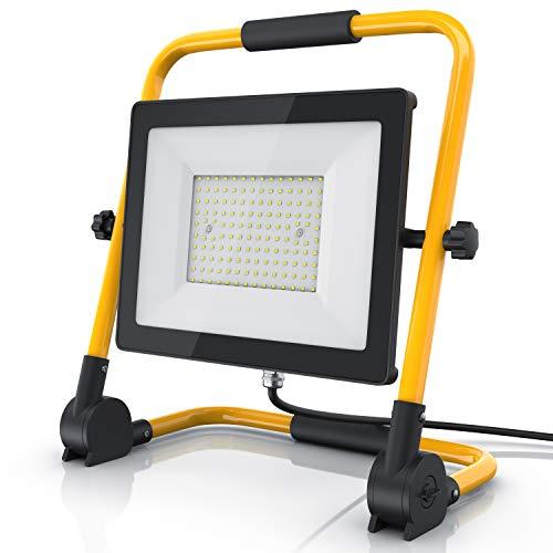 Brandson - LED Baustrahler 100W - Arbeitsleuchte - Arbeitsscheinwerfer - Bauscheinwerfer - inkl. Standgestell und Tragegriff - 100 Watt 9500 Lumen - 140 SMD LEDs