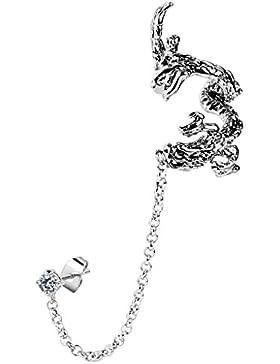 Body Jewellery Shack Ohrklemme mit Ohrstecker fliegender Drache mit Zirkonia transparent, mit Kette Piercing-Set...