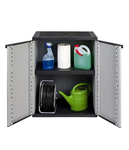 Kreher Kunststoffschrank, Balkonschrak mit Einem höhenverstellbaren Boden und abschließbaren Türen. In Grau. Maße ca. 67 x 38 x 85 cm. -