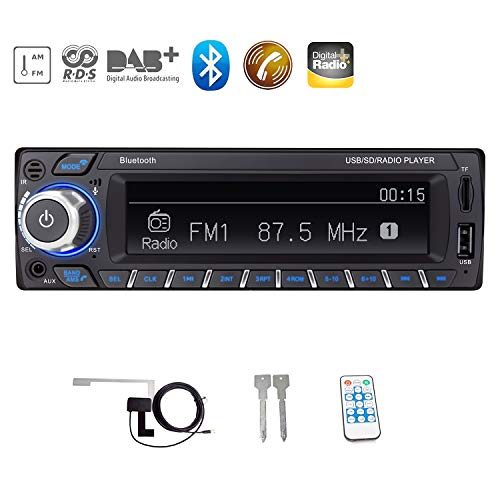 ATian RDS Radio de Voiture, Dab Radio de Voiture Bluetooth Radio de Voiture Mains Libres stéréo de Voiture Audio numérique MP3 Lecteur 1 DIN 12 V avec entrée USB/SD/AUX (Antenne Dab Incluse)