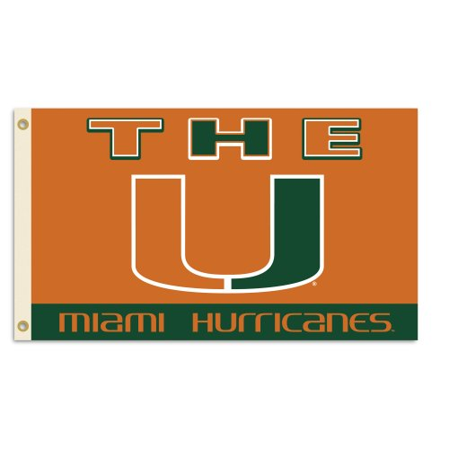 BSI NCAA Flagge, 3 x 5 m, mit Ösen, Herren,Unisex-Erwachsene, Damen, Miami Hurricanes, 3' x 5' - Miami Hurricanes 3x5 Flag