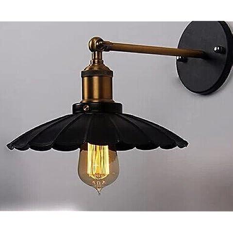 Arte INDUSTRIALE DI ILLUMINAZIONE E27 Lampada da parete Vintage Ferro nero finito illuminazione a gabbia