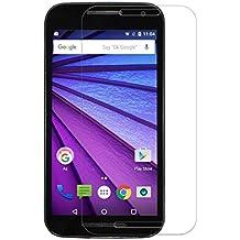 Protector de pantalla Cristal templado para Motorola Moto G 3 generacion (version 2015 / tercera generación)  Calidad HD, Grosor 0,3mm, Bordes redondeados 2,5D, alta resistencia a golpes 9H. No deja burbujas en la colocación (Incluye instrucciones y soporte en Español)