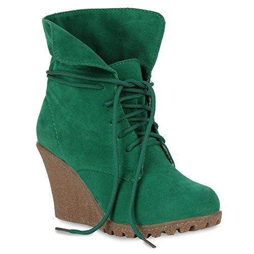 Damen Stiefeletten Keilabsatz Wedges Keilstiefeletten Boots Grün