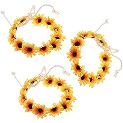 Lurrose 3pcs diadema de flores margarita corona de flores corona diadema para niñas nupciales mujeres boda fiesta de cumpleaños accesorios para el cabello amarillo
