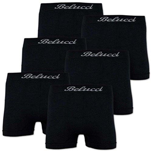 6er Pack Herren Boxershorts BELUCCI Microfaser M L XL XXL 6 x Schwarz