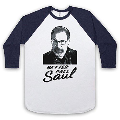 Inspiriert durch Homeland Better Call Saul Inoffiziell 3/4 Hulse Retro Baseball T-Shirt Weis & Ultramarinblau