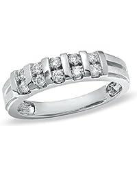 Silvernshine Jewels - Anillo de Boda para Mujer, Oro Blanco de 14 Quilates, 0
