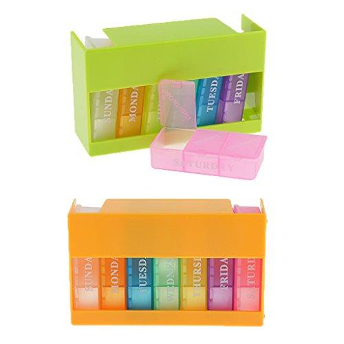 MagiDeal 2 Stück 7 Tage Pillendose Pillenbox Tablettendose (Jede Box mit 3 Fächern Für jeden Tag) Reisen Tablettenbox Wochendosierer - Brief-fach Deckel