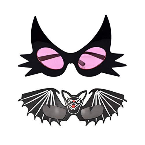 BESTOYARD 2 stücke Lustige Party Gläser Halloween Katze und Fledermaus Form Brillen Party Supplies Kostüm Gläser Zubehör (Katze Gläser + Schwarze Fledermaus Gläser)