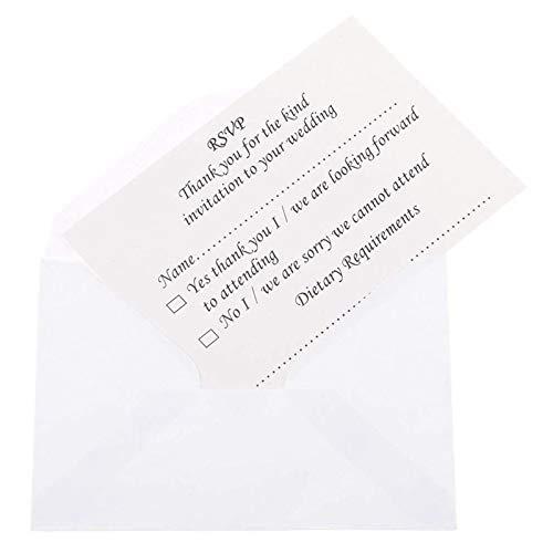 XZANTE 50pcs Hochzeit Bankett RSVP Antwortkarte mit Umschlag