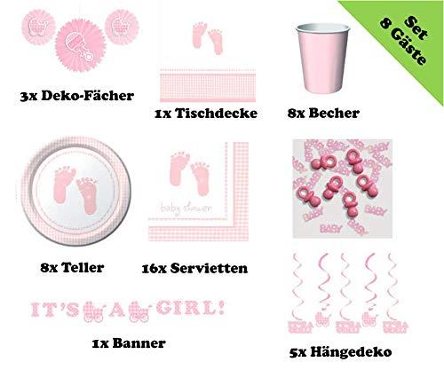 Babyparty Deko-Set Hurra EIN Mädchen Its a Girl rosa (ideal für die Babyparty / Baby Shower Party / Taufe / 1. Kindergeburtstag / Baby Willkommensparty)