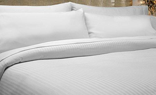 Fadenzahl 300 Baumwoll-satin Bettwäsche (Premium Bettbezug-Set aus 100% Baumwolle mit Fadendichte 300, Weiß, 100 % Baumwolle, weiß, 200_x_200_cm)