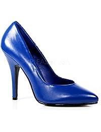 VogueZone009 Damen Ziehen auf Rund Zehe Hoher Absatz Nubukleder Rein Pumps Schuhe, Blau, 35