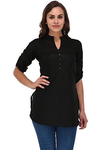 Pistaa women's Best Cotton Comfort Black Short Kurti With Fold up Sleeves...