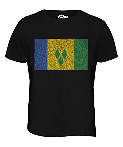 CandyMix St. Vincent Und Die Grenadinen Kritzelte Flagge Herren T Shirt Schwarz