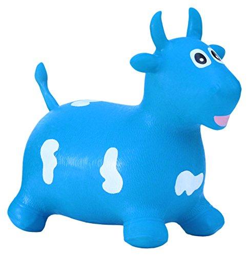 Happy Giampy HG205 - Mucca Gonfiabile Cavalcabile per Bambini, Colore Blu