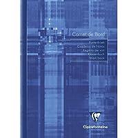 Clairefontaine 3689C - Un cahier de bord piqué Int'l 40 pages avec marges détachables 14,8x21 cm 110g, couverture couleur aléatoire