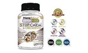 STOP CAIDA + CRECIMIENTO | Potente Tratamiento Anticaída | Activador del Crecimiento del Cabello | Aumenta el Volumen y la Densidad | Apto para Hombres y Mujeres | Resultados Visibles | 30 cápsulas