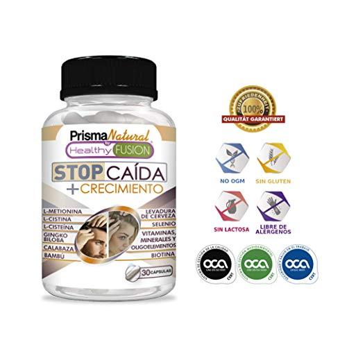 STOP CAIDA + CRECIMIENTO   Potente Tratamiento Anticaída   Activador del Crecimiento del Cabello   Aumenta el Volumen y la Densidad   Apto para Hombres y Mujeres   Resultados Visibles   30 cápsulas
