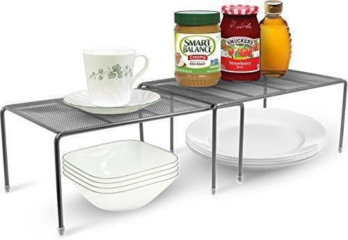 Sorbus® Hersbrucker Pantry Schrank Organisatoren-Ausstattung erweiterbar Einlegeböden aus Stahl-Ideal für Speisekammer Schrank, und Vieles Mehr in Küche/Bad Silber -