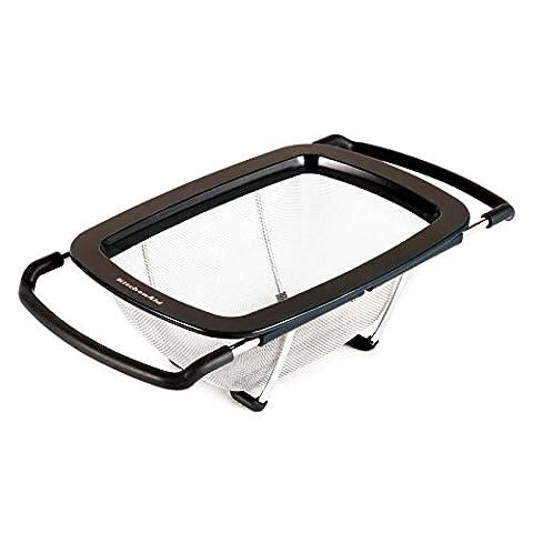 KitchenAid Dishwasher Safe Stainless Steel Soft Encased Feet Expandable Colander Strainer, Black