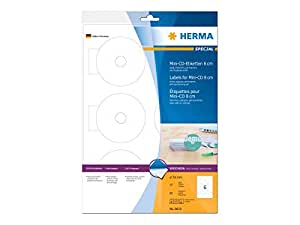 HERMA 8619 CD labels Mini A4 Ø 78 mm white paper matt opaque 60 pcs.