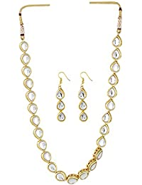 Aradhya Designer Kundan Necklace Set With Earrings For Women And Girls
