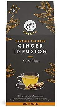 Marca Amazon - Happy Belly Select - Bolsitas de té de hierbas selecto con jengibre, 4x15 pirámides