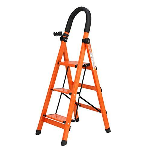 MKJYDM Treppe Treppe Dreistöckiger Klappstuhl Treppenstuhl Geeignet für die Küche Indoor-Multifunktions-Aluminium-Haushalt Schrumpfleiter 39x52x108CM Orange Tritthocker