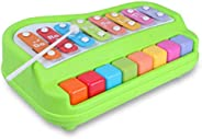 Popsugar 2 in 1 Xylophone and Piano Toy with Colorful Keys for Toddlers and Kids, Green