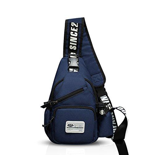 FANDARE Mode Sling Bag Rucksack Umhängetasche Brusttasche Messenger Bag Schultertasche Hiking Bag Daypack Crossbody Bag Chest Pack Sports Reisetasche Wasserdicht Polyester Navy Blau
