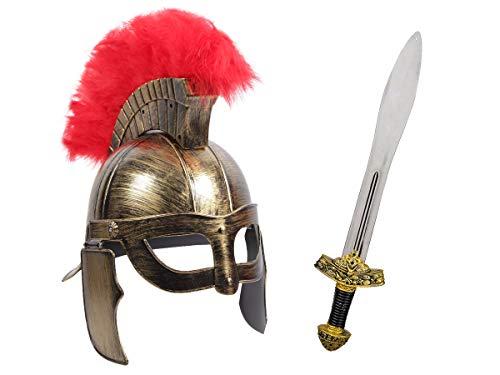 Alsino Gladiatoren Krieger Kostüm Accessoires (Kv-153) - mit Römer Helm und 56 cm langes Ritterschwert