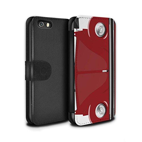 Stuff4 Coque/Etui/Housse Cuir PU Case/Cover pour Apple iPhone SE / Perle Blanche Design / Rétro Coccinelle Collection Rouge d'Afrique