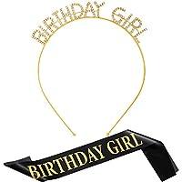 Birthday Headband Girl Rhinestone Headband and Birthday Satin Sash for Party Supplies (Gold)