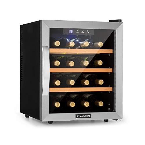 KLARSTEIN Reserva 16 - Cantinetta Vino, Frigorifero Termoelettrico per Bevande, Classe Energetica B, 34 dB, 1 Zona, 48 L, 16 Bottiglie, 11-18 °C, Vetro Frontale con Telaio in Acciaio Inox, Nero