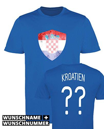 Comedy Shirts - Kroatien Trikot - Wappen: Groß - Wunsch - Jungen Trikot - Royalblau/Weiss Gr. 134-146