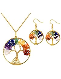 FOCALOOK Tree of Life Dangle Earrings, Chakra Jewelry Rainbow Color Crystal Wire Wrapped Hook Earrings for Women