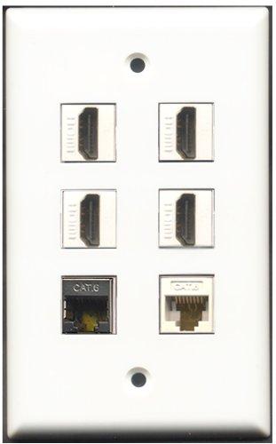 RiteAV-4Port HDMI 1geschirmt CAT6Ethernet 1CAT6Ethernet Weiß Wall Plate 6 Port Flush