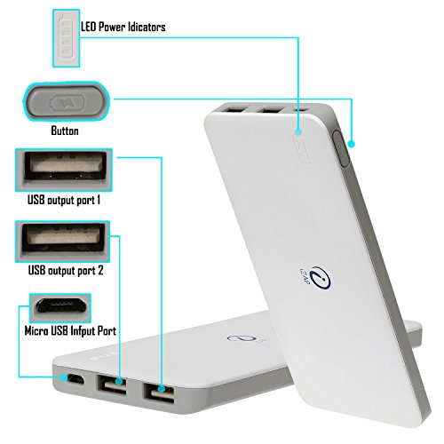 iZAP USB Portable Power Supply 5000mAh Li-Polymer Ultra Slim Power Bank for Samsung Apple HTC Sony Xiaomi Smartphone (6 Months Warranty)  available at amazon for Rs.699