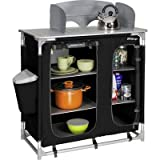 Berger Küchenbox Premium II, schwarz/grau, Maße B 95 x H 95 x T 53 cm, Alu-Gestell, Aufbau-Schrank, Campingschrank