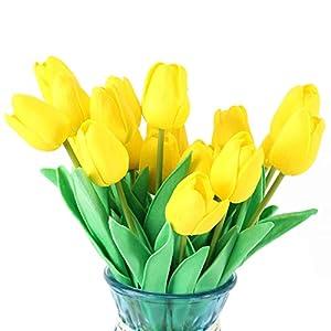 Meetu DIY Flores Artificiales 20 Piezas Flores Falsas Ramo PU tulipán Floral para Ramo de Boda Nupcial Fiesta de jardín…
