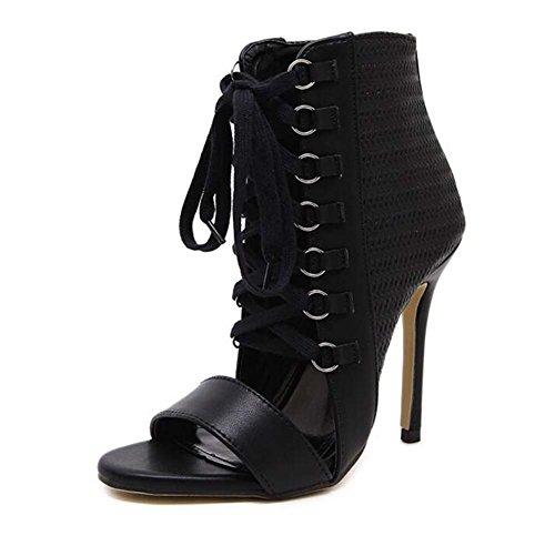 MYI Chaussures pour Femmes Summer Fashion Europe and Rome Fine Avec des Sandales en Dentelle à Talons Hauts