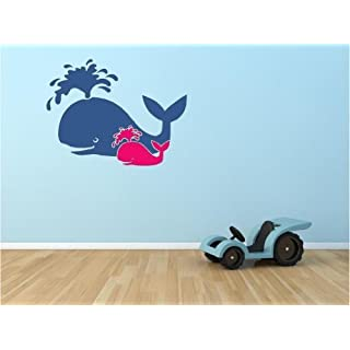 Whale Mom and Baby vinyl wall art decal by ABAK Trading International LLC
