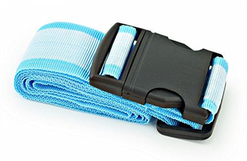 Koffergurt mit Klippverschluss Blau - Hellblau gestreift - 4 Stück -