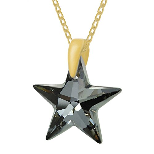 Diamond Black 2 Karat Anhänger (Royal Crystals Halskette Schwarzer Sternenanhänger aus Swarovski-Kristall mit Silberkette, 24 Karat vergoldetes Sterlingsilber, 45,7 cm lang)