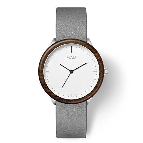 MAM Originals Herren Uhr Analog Japanisches Quarzwerk mit Leder Armband Stainless Light Teak Graphite
