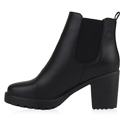 Damen Stiefeletten Chelsea Boots Profilsohle Blockabsatz Schuhe Total Snake