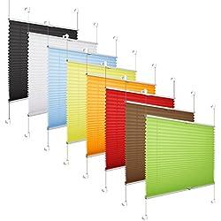 Grandekor *AKTIONSPREIS* Plissee Klemmfix Fenster 50 cm Plissee Rollo Sonnenschutz ohne Bohren - Weiß 60x100 (BxH)